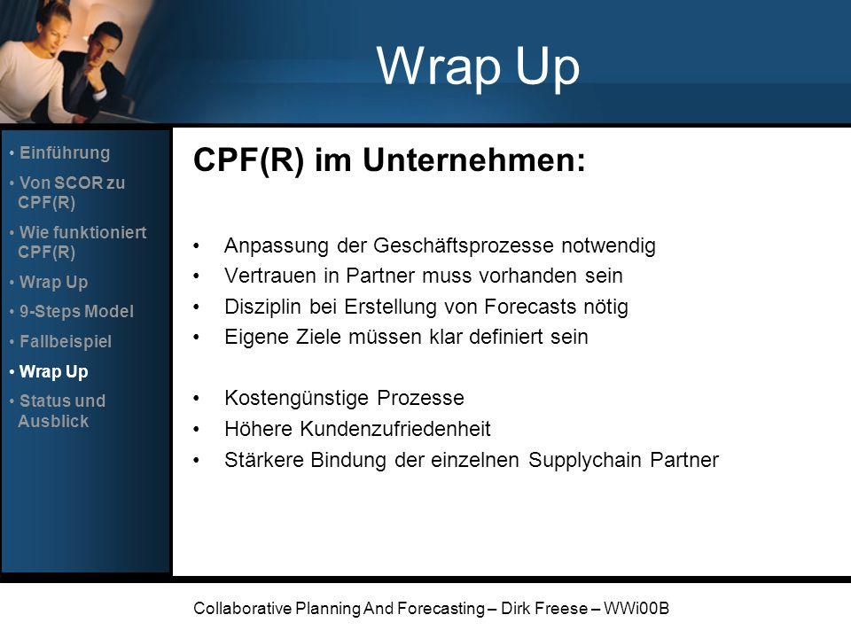 Collaborative Planning And Forecasting – Dirk Freese – WWi00B Wrap Up CPF(R) im Unternehmen: Anpassung der Geschäftsprozesse notwendig Vertrauen in Pa