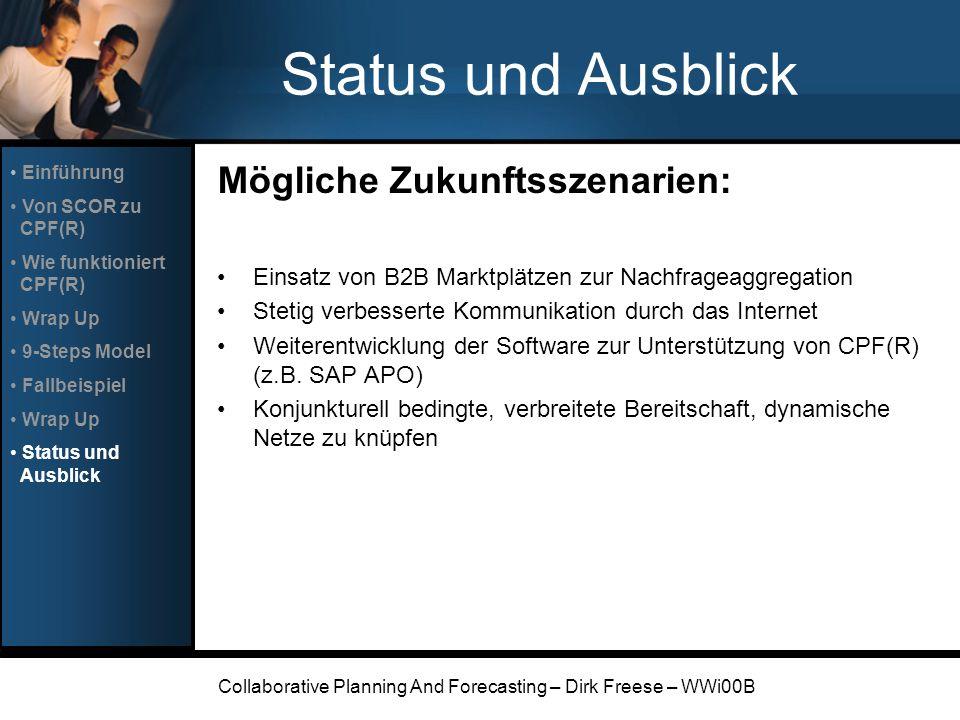 Collaborative Planning And Forecasting – Dirk Freese – WWi00B Status und Ausblick Mögliche Zukunftsszenarien: Einsatz von B2B Marktplätzen zur Nachfra