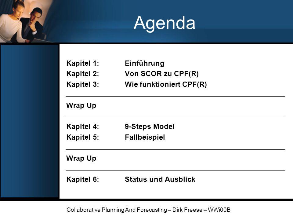 Collaborative Planning And Forecasting – Dirk Freese – WWi00B Fallbeispiel: 2-Tier CPF(R) Ziele des Pilotprojekts: Verbesserte Absatzplanung und Bestandsführung für die Marke Listerine Vergleich von Abverkäufen und Bestellprognosen bei Warner- Lambert und Walmart Absatzschwankungen durch Promotions von Walmart eliminieren Optimierung des Informationsflusses zwischen den Partnern Einführung Von SCOR zu CPF(R) Wie funktioniert CPF(R) Wrap Up 9-Steps Model Fallbeispiel Wrap Up Status und Ausblick