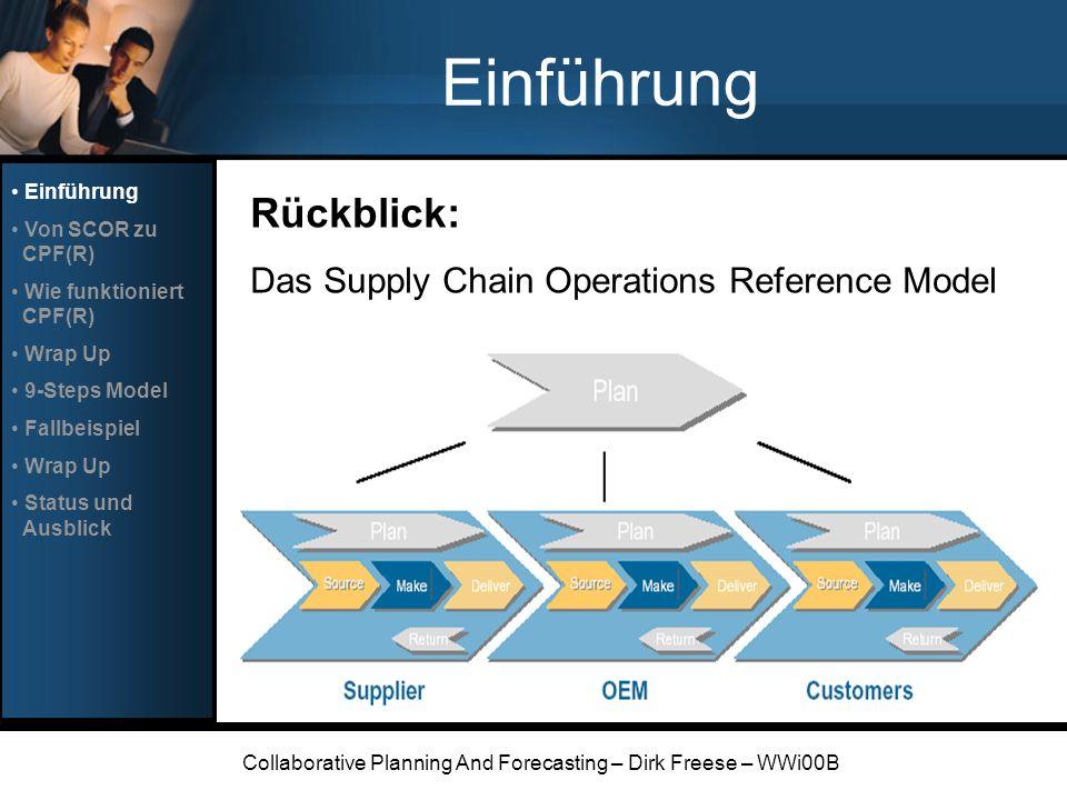 Collaborative Planning And Forecasting – Dirk Freese – WWi00B Einführung Rückblick: Das Supply Chain Operations Reference Model Einführung Von SCOR zu