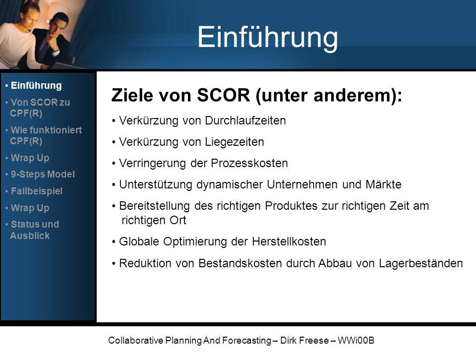 Collaborative Planning And Forecasting – Dirk Freese – WWi00B Einführung Ziele von SCOR (unter anderem): Verkürzung von Durchlaufzeiten Verkürzung von