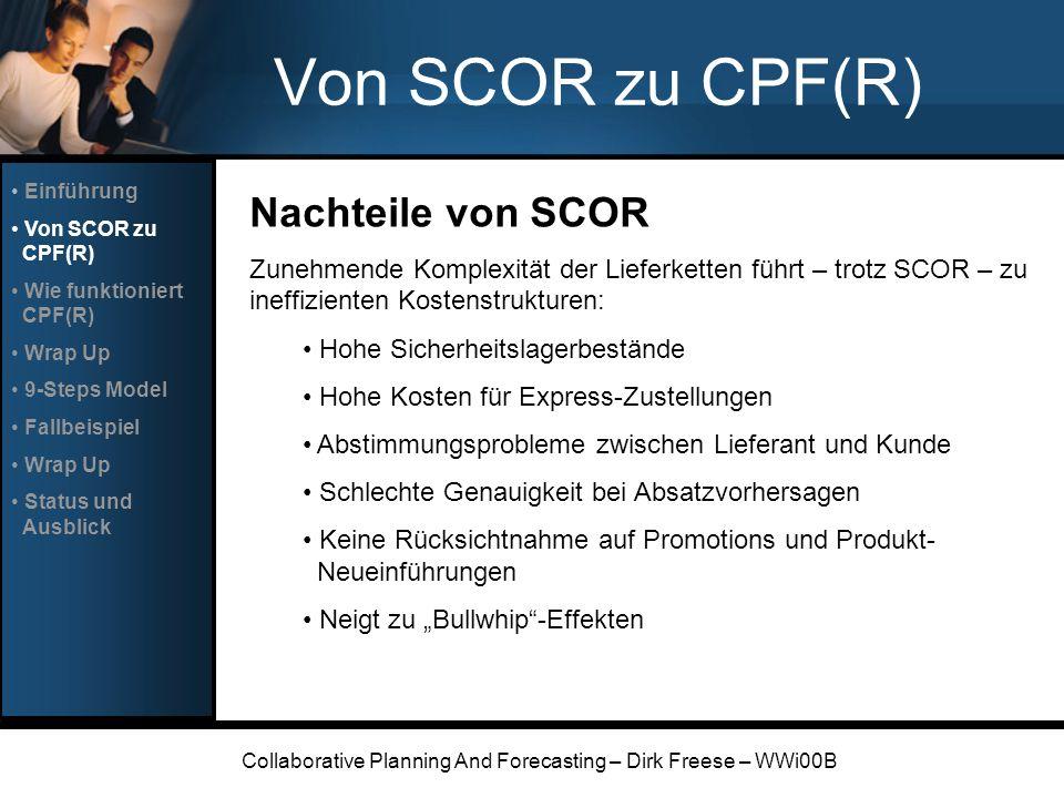 Collaborative Planning And Forecasting – Dirk Freese – WWi00B 9-Steps Model Step 1: Create Frontend Agreement Absichtserklärung NDAs Auszutauschende Daten Verantwortlichkeiten Ressourcen Einführung Von SCOR zu CPF(R) Wie funktioniert CPF(R) Wrap Up 9-Steps Model Fallbeispiel Wrap Up Status und Ausblick