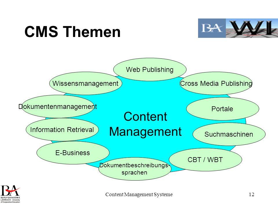 Content Management Systeme12 CMS Themen Content Management Cross Media Publishing Portale Wissensmanagement Dokumentenmanagement CBT / WBT E-Business