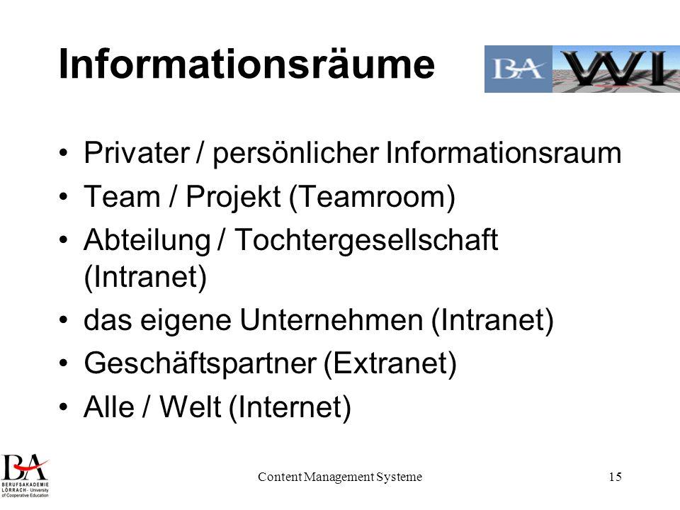 Content Management Systeme15 Informationsräume Privater / persönlicher Informationsraum Team / Projekt (Teamroom) Abteilung / Tochtergesellschaft (Int