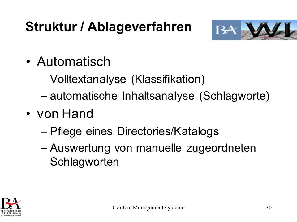 Content Management Systeme30 Struktur / Ablageverfahren Automatisch –Volltextanalyse (Klassifikation) –automatische Inhaltsanalyse (Schlagworte) von H