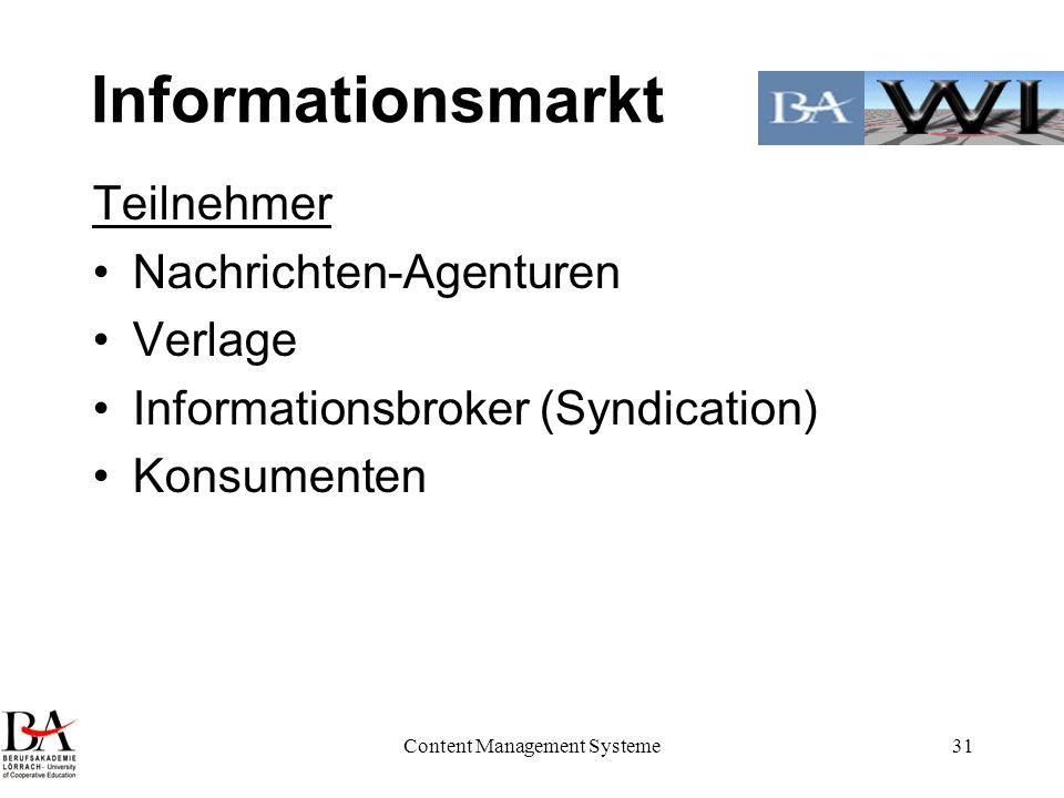 Content Management Systeme31 Informationsmarkt Teilnehmer Nachrichten-Agenturen Verlage Informationsbroker (Syndication) Konsumenten