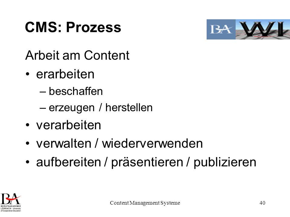 Content Management Systeme40 CMS: Prozess Arbeit am Content erarbeiten –beschaffen –erzeugen / herstellen verarbeiten verwalten / wiederverwenden aufb