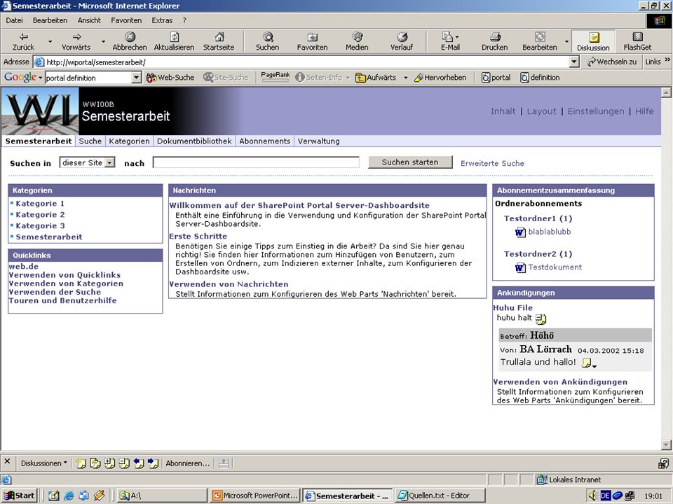 Folie 13 13.01.2014 Screenshot Portal Server - Startseite