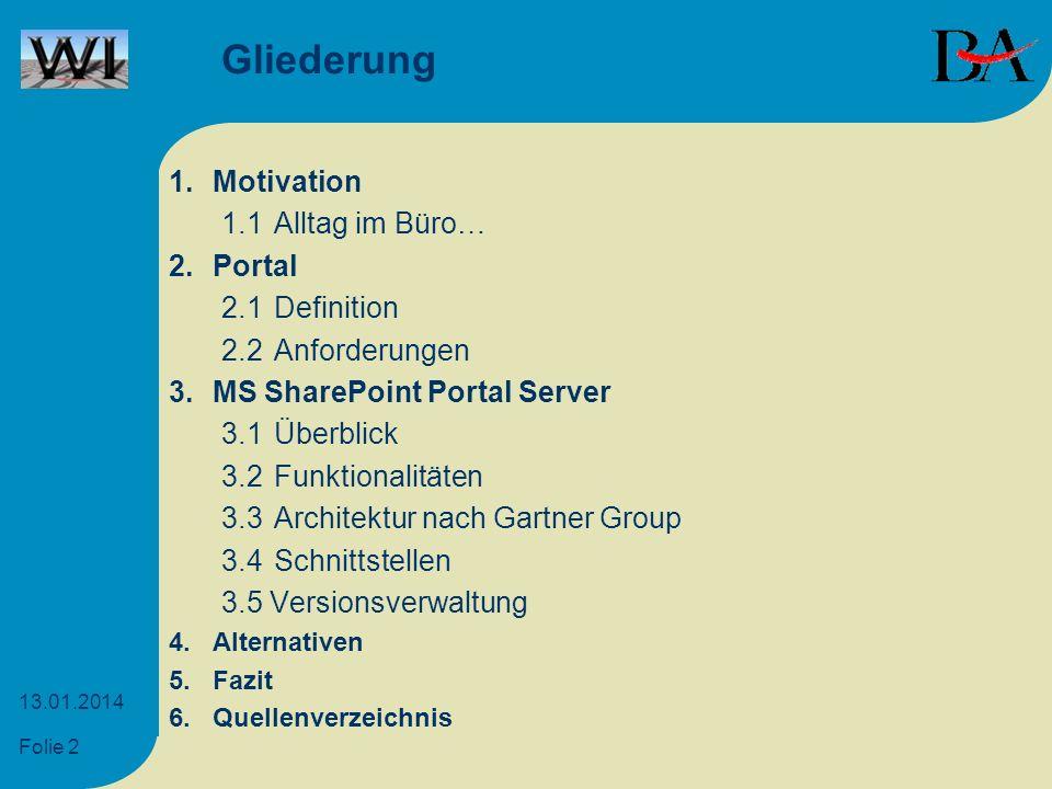 Folie 2 13.01.2014 Gliederung 1.Motivation 1.1Alltag im Büro… 2.Portal 2.1Definition 2.2Anforderungen 3.MS SharePoint Portal Server 3.1Überblick 3.2Fu