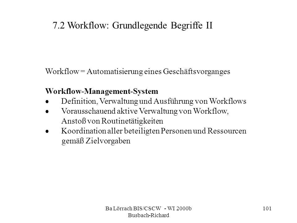 Ba Lörrach BIS/CSCW - WI 2000b Busbach-Richard 101 Workflow = Automatisierung eines Geschäftsvorganges Workflow-Management-System Definition, Verwaltu