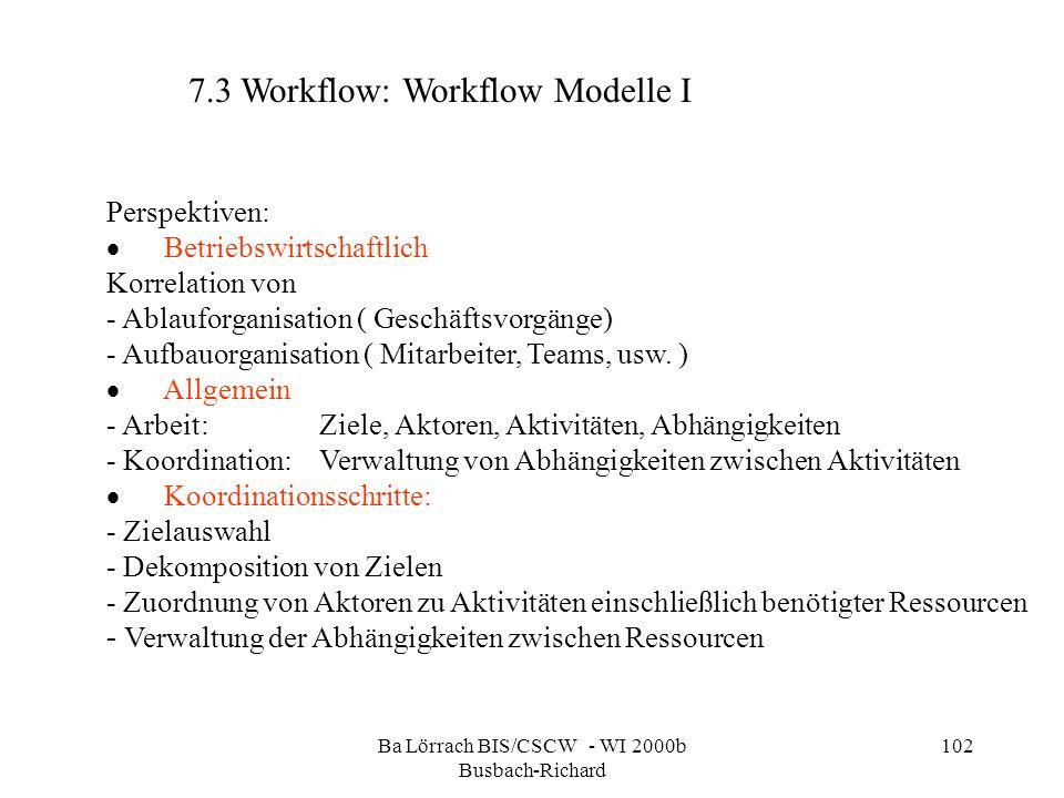 Ba Lörrach BIS/CSCW - WI 2000b Busbach-Richard 102 7.3 Workflow: Workflow Modelle I Perspektiven: Betriebswirtschaftlich Korrelation von - Ablauforgan