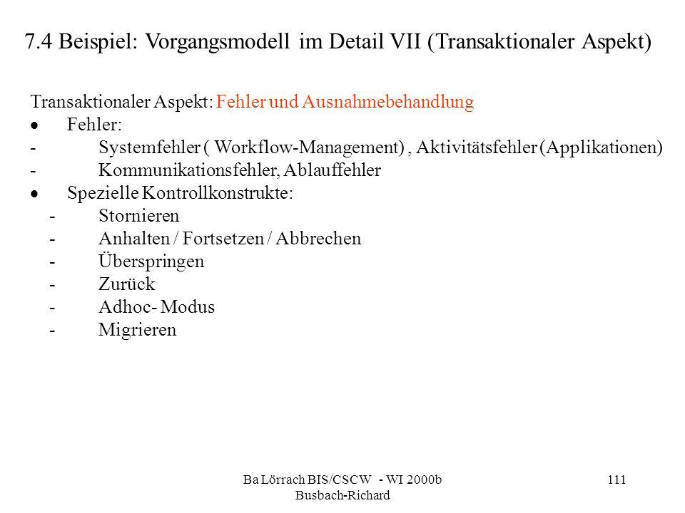 Ba Lörrach BIS/CSCW - WI 2000b Busbach-Richard 111 7.4 Beispiel: Vorgangsmodell im Detail VII (Transaktionaler Aspekt) Transaktionaler Aspekt: Fehler