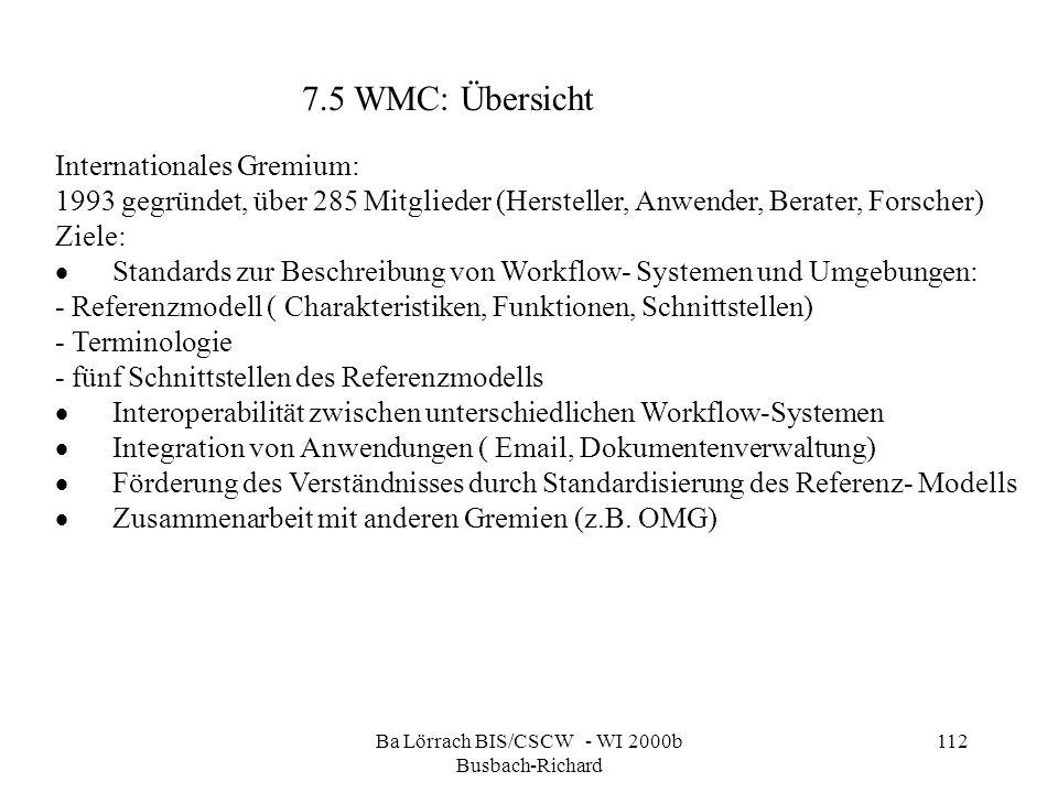 Ba Lörrach BIS/CSCW - WI 2000b Busbach-Richard 112 Internationales Gremium: 1993 gegründet, über 285 Mitglieder (Hersteller, Anwender, Berater, Forsch