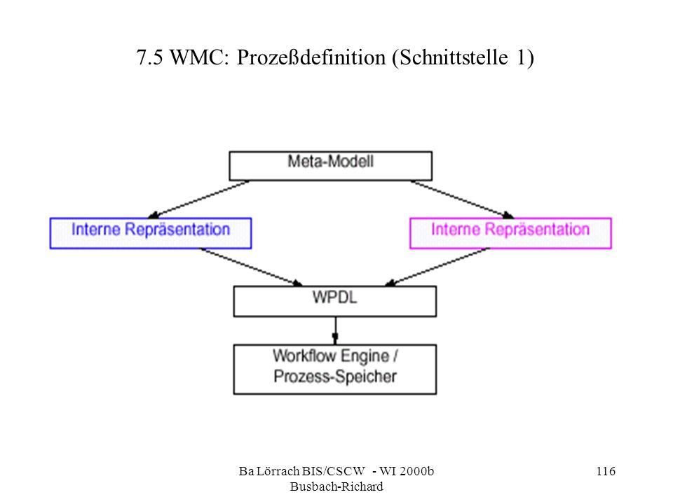 Ba Lörrach BIS/CSCW - WI 2000b Busbach-Richard 116 7.5 WMC: Prozeßdefinition (Schnittstelle 1)