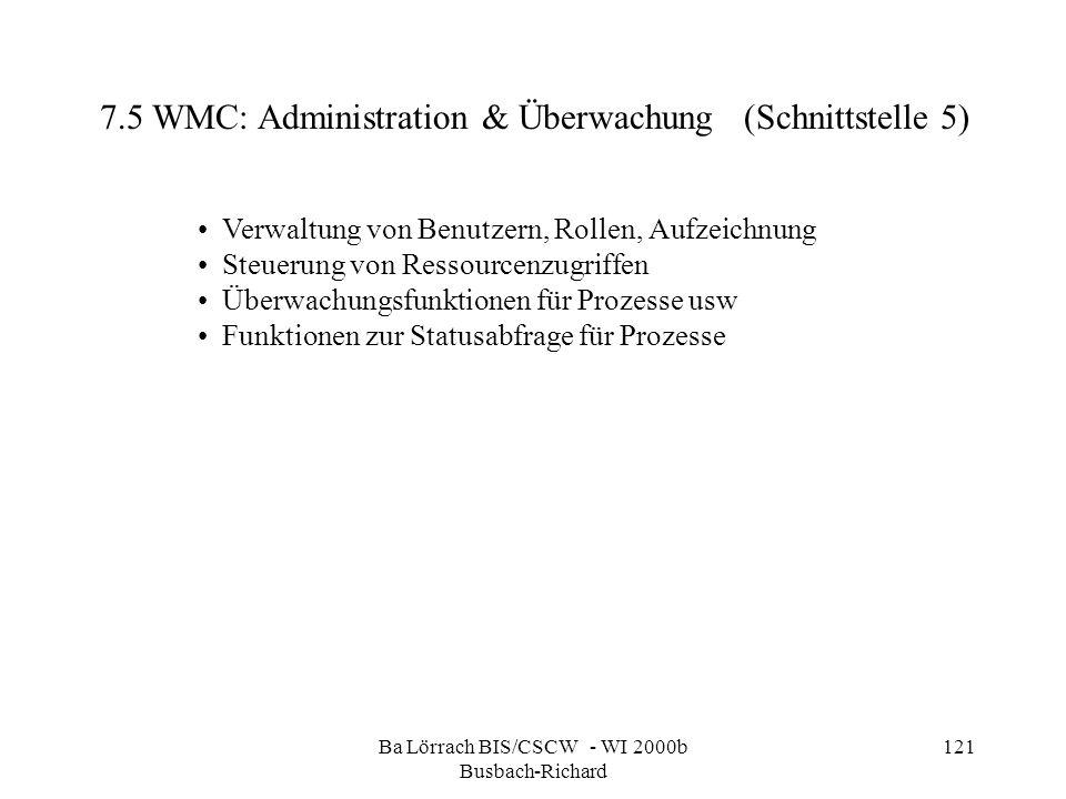 Ba Lörrach BIS/CSCW - WI 2000b Busbach-Richard 121 7.5 WMC: Administration & Überwachung (Schnittstelle 5) Verwaltung von Benutzern, Rollen, Aufzeichn