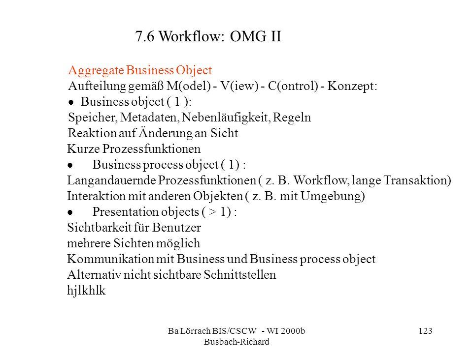 Ba Lörrach BIS/CSCW - WI 2000b Busbach-Richard 123 Aggregate Business Object Aufteilung gemäß M(odel) - V(iew) - C(ontrol) - Konzept: Business object