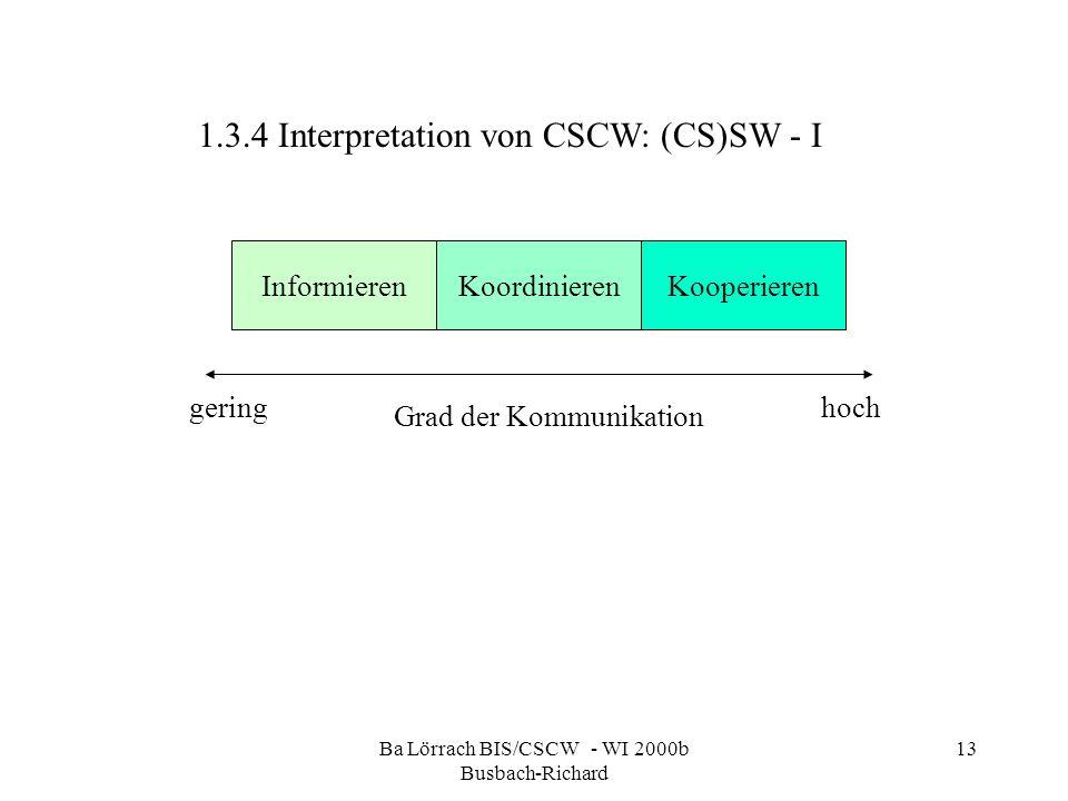 Ba Lörrach BIS/CSCW - WI 2000b Busbach-Richard 13 1.3.4 Interpretation von CSCW: (CS)SW - I InformierenKoordinierenKooperieren Grad der Kommunikation