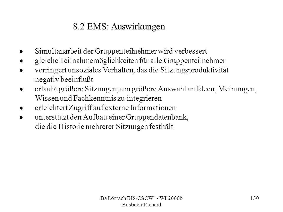 Ba Lörrach BIS/CSCW - WI 2000b Busbach-Richard 130 Simultanarbeit der Gruppenteilnehmer wird verbessert gleiche Teilnahmemöglichkeiten für alle Gruppe