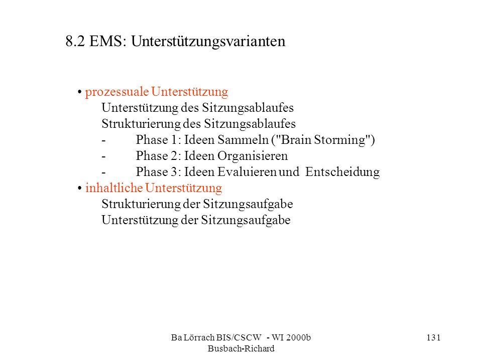 Ba Lörrach BIS/CSCW - WI 2000b Busbach-Richard 131 prozessuale Unterstützung Unterstützung des Sitzungsablaufes Strukturierung des Sitzungsablaufes -