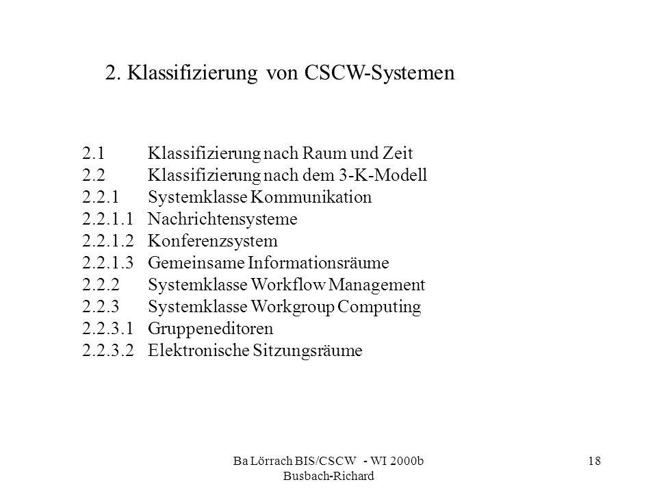 Ba Lörrach BIS/CSCW - WI 2000b Busbach-Richard 18 2.1Klassifizierung nach Raum und Zeit 2.2Klassifizierung nach dem 3-K-Modell 2.2.1Systemklasse Kommu