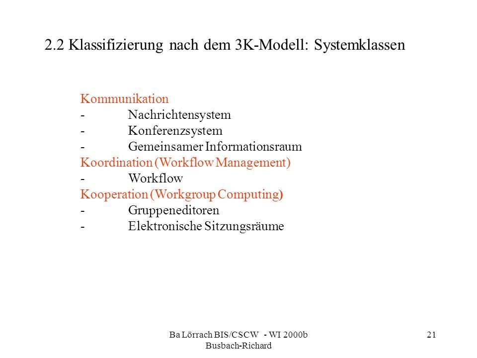 Ba Lörrach BIS/CSCW - WI 2000b Busbach-Richard 21 2.2 Klassifizierung nach dem 3K-Modell: Systemklassen Kommunikation -Nachrichtensystem -Konferenzsys