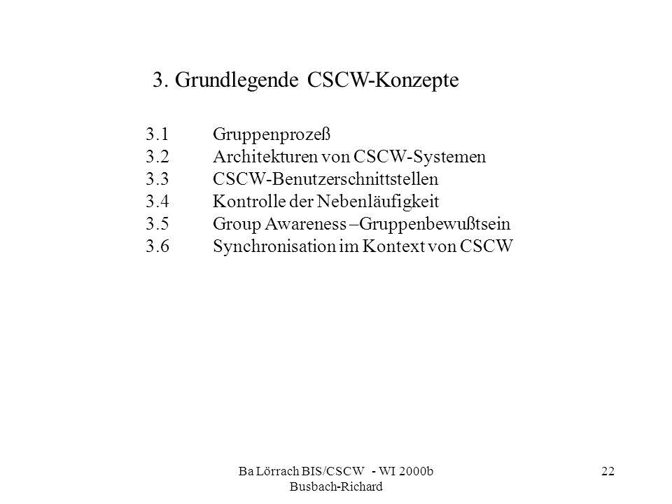 Ba Lörrach BIS/CSCW - WI 2000b Busbach-Richard 22 3.1Gruppenprozeß 3.2Architekturen von CSCW-Systemen 3.3CSCW-Benutzerschnittstellen 3.4Kontrolle der