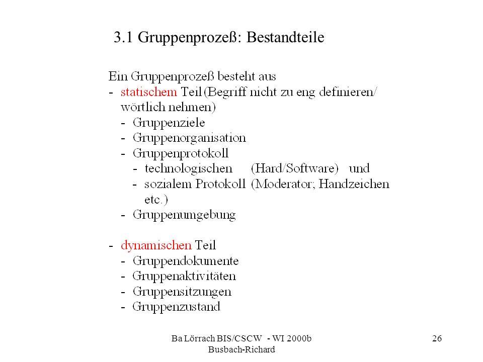 Ba Lörrach BIS/CSCW - WI 2000b Busbach-Richard 26 3.1 Gruppenprozeß: Bestandteile