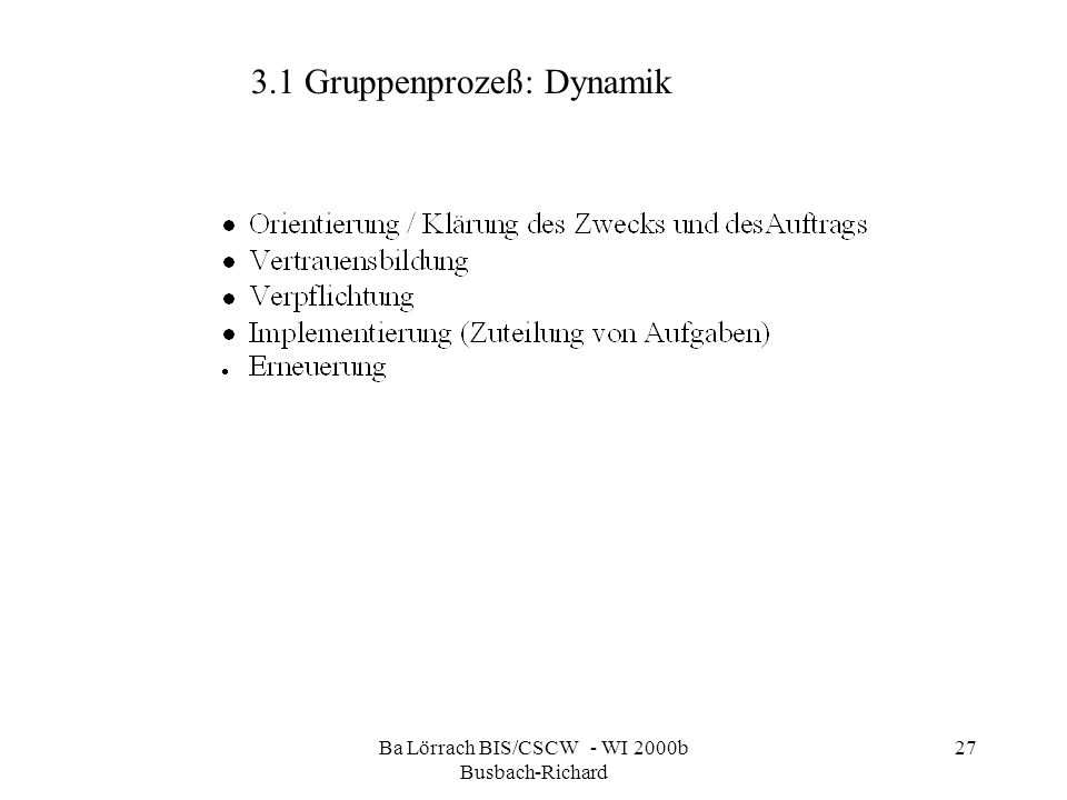 Ba Lörrach BIS/CSCW - WI 2000b Busbach-Richard 27 3.1 Gruppenprozeß: Dynamik