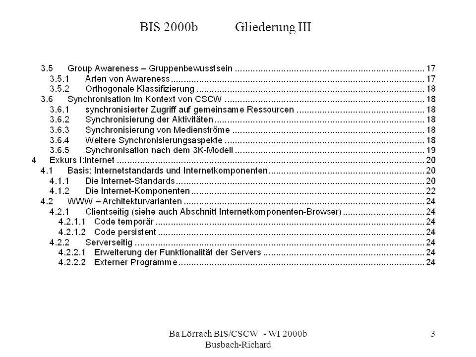 Ba Lörrach BIS/CSCW - WI 2000b Busbach-Richard 3 BIS 2000bGliederung III