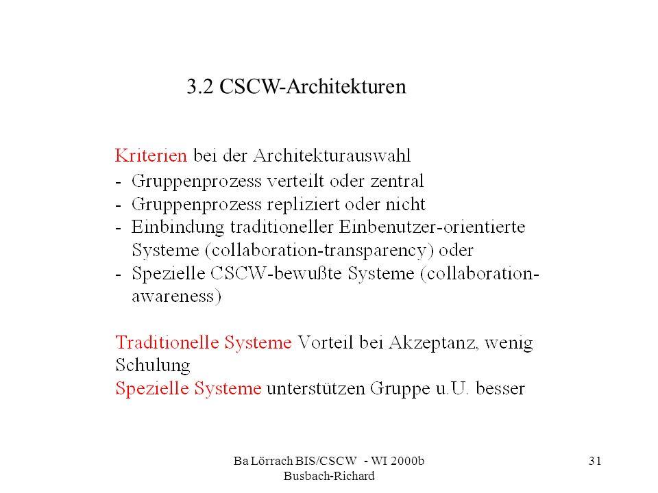 Ba Lörrach BIS/CSCW - WI 2000b Busbach-Richard 31 3.2 CSCW-Architekturen