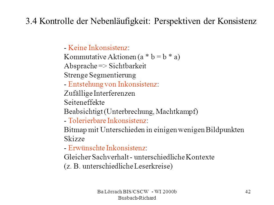 Ba Lörrach BIS/CSCW - WI 2000b Busbach-Richard 42 3.4 Kontrolle der Nebenläufigkeit: Perspektiven der Konsistenz - Keine Inkonsistenz: Kommutative Akt
