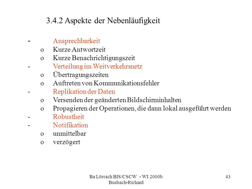 Ba Lörrach BIS/CSCW - WI 2000b Busbach-Richard 43 3.4.2 Aspekte der Nebenläufigkeit - Ansprechbarkeit oKurze Antwortzeit oKurze Benachrichtigungszeit