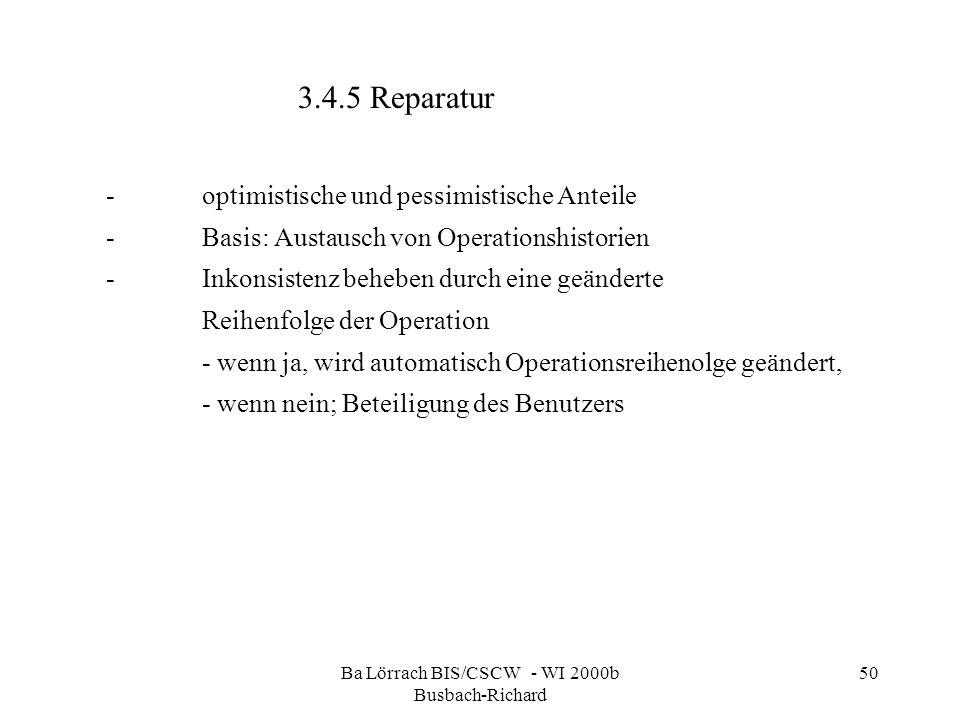 Ba Lörrach BIS/CSCW - WI 2000b Busbach-Richard 50 -optimistische und pessimistische Anteile -Basis: Austausch von Operationshistorien -Inkonsistenz be