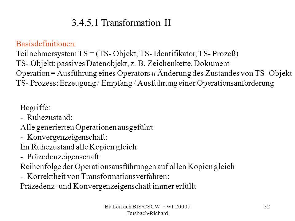 Ba Lörrach BIS/CSCW - WI 2000b Busbach-Richard 52 Begriffe: - Ruhezustand: Alle generierten Operationen ausgeführt - Konvergenzeigenschaft: Im Ruhezus