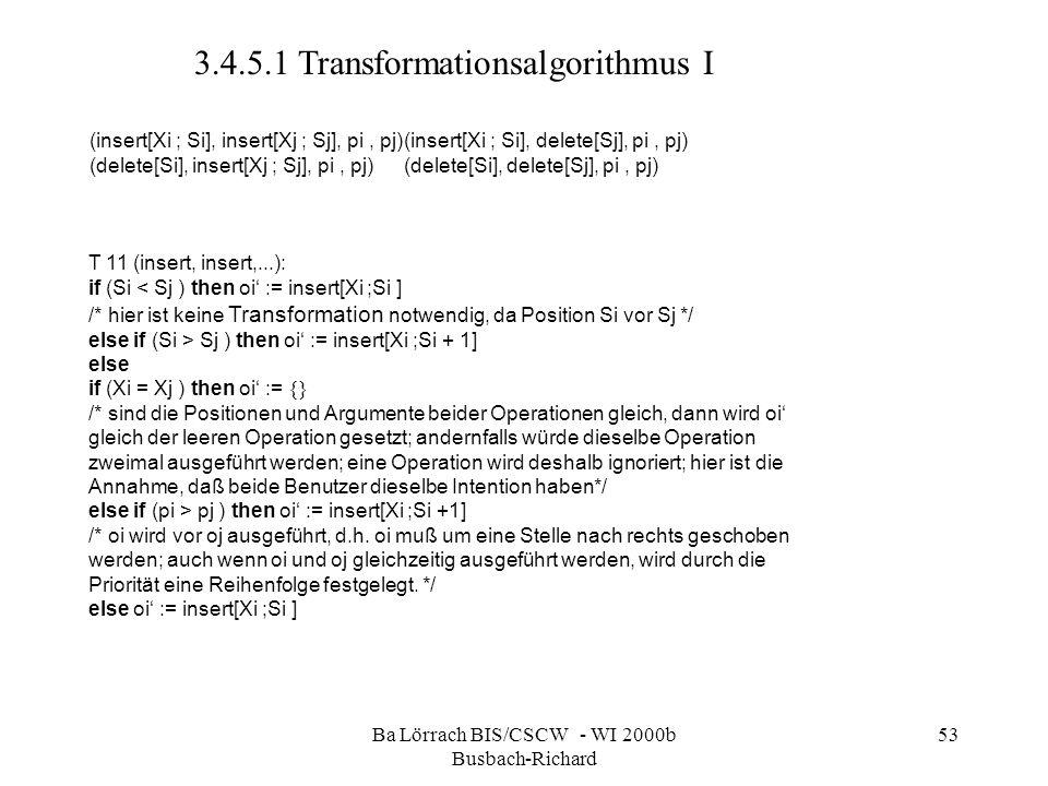 Ba Lörrach BIS/CSCW - WI 2000b Busbach-Richard 53 (insert[Xi ; Si], insert[Xj ; Sj], pi, pj)(insert[Xi ; Si], delete[Sj], pi, pj) (delete[Si], insert[