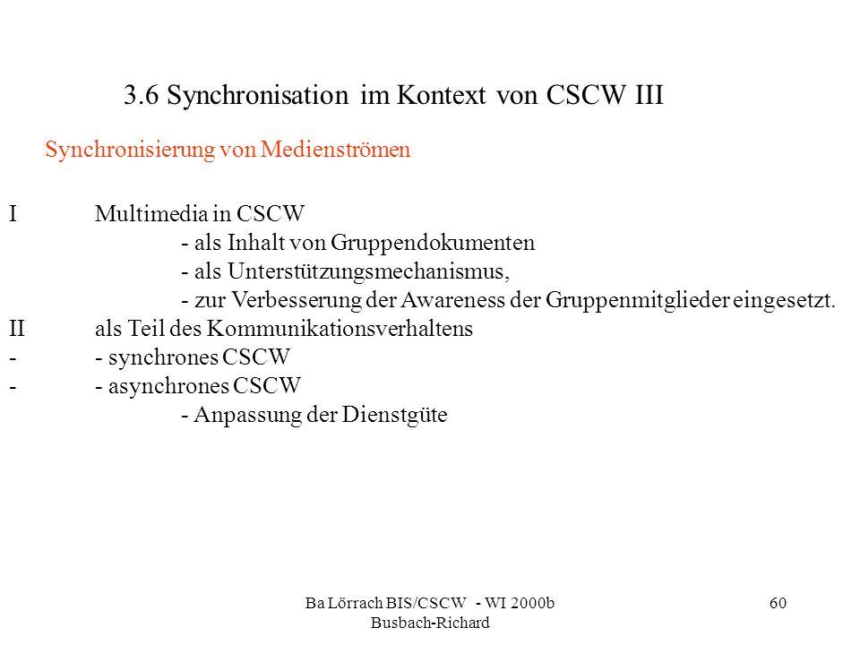Ba Lörrach BIS/CSCW - WI 2000b Busbach-Richard 60 IMultimedia in CSCW - als Inhalt von Gruppendokumenten - als Unterstützungsmechanismus, - zur Verbes