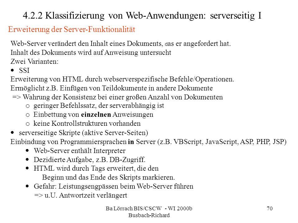 Ba Lörrach BIS/CSCW - WI 2000b Busbach-Richard 70 Web-Server verändert den Inhalt eines Dokuments, d as er angefordert hat. Inhalt des Dokuments wird