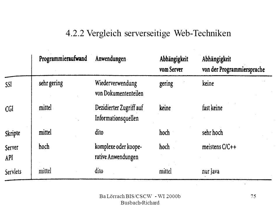 Ba Lörrach BIS/CSCW - WI 2000b Busbach-Richard 75 4.2.2 Vergleich serverseitige Web-Techniken