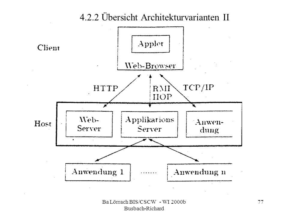 Ba Lörrach BIS/CSCW - WI 2000b Busbach-Richard 77 4.2.2 Übersicht Architekturvarianten II