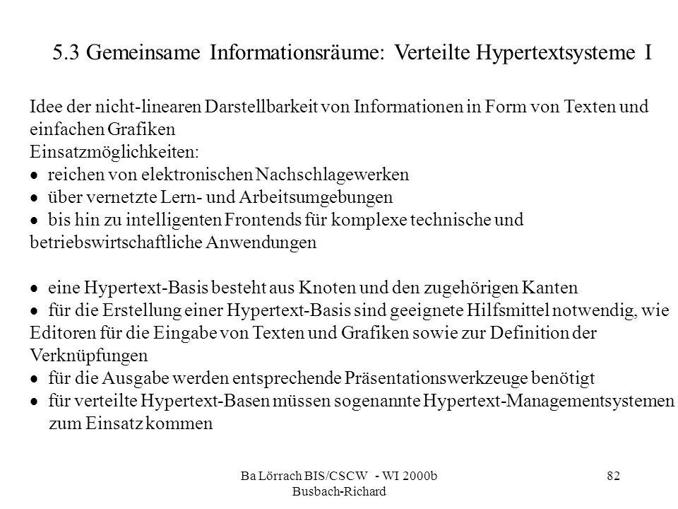 Ba Lörrach BIS/CSCW - WI 2000b Busbach-Richard 82 Idee der nicht-linearen Darstellbarkeit von Informationen in Form von Texten und einfachen Grafiken