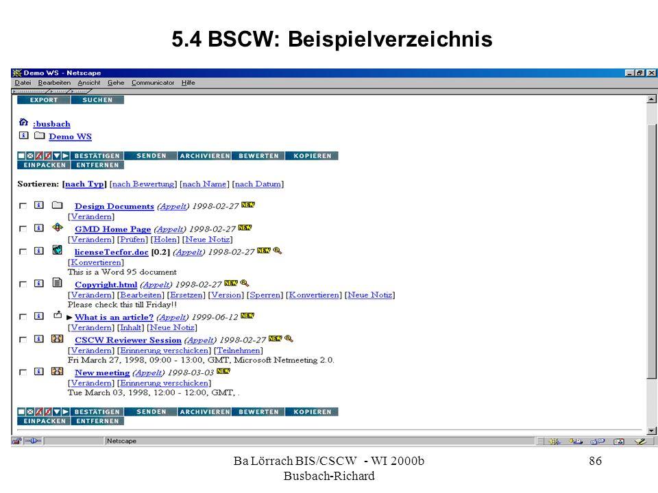 Ba Lörrach BIS/CSCW - WI 2000b Busbach-Richard 86 5.4 BSCW: Beispielverzeichnis