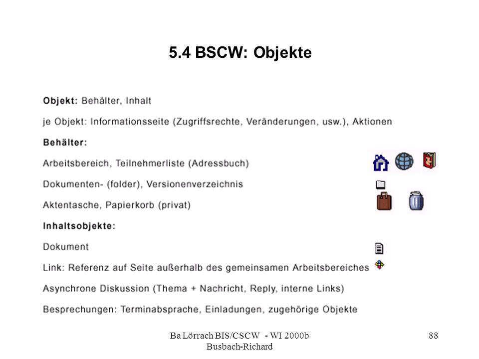 Ba Lörrach BIS/CSCW - WI 2000b Busbach-Richard 88 5.4 BSCW: Objekte