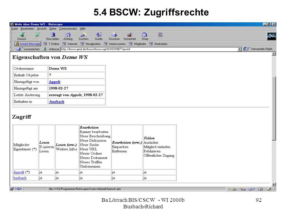 Ba Lörrach BIS/CSCW - WI 2000b Busbach-Richard 92 5.4 BSCW: Zugriffsrechte