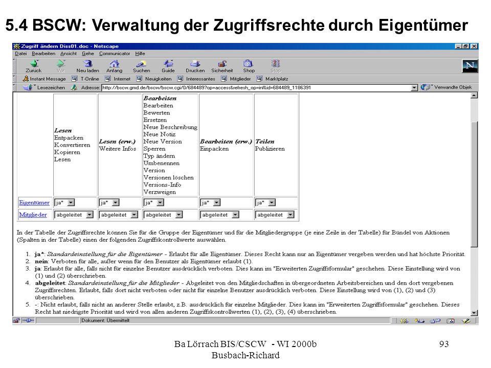 Ba Lörrach BIS/CSCW - WI 2000b Busbach-Richard 93 5.4 BSCW: Verwaltung der Zugriffsrechte durch Eigentümer