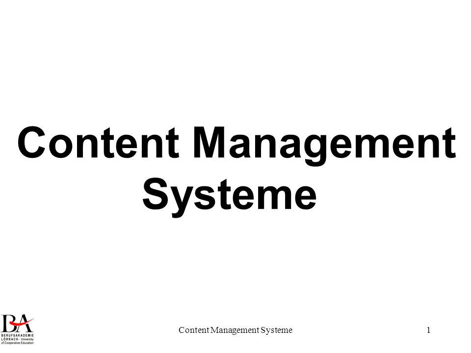 Content Management Systeme2 Rückblick