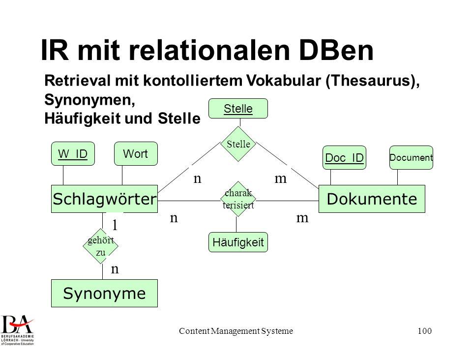 Content Management Systeme100 IR mit relationalen DBen DokumenteSchlagwörter charak terisiert nm Doc_ID Document W_IDWort Retrieval mit kontolliertem