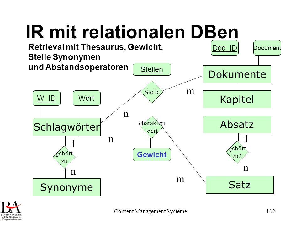 Content Management Systeme102 IR mit relationalen DBen Dokumente Schlagwörter charakteri siert n m Doc_ID Document W_IDWort Retrieval mit Thesaurus, G