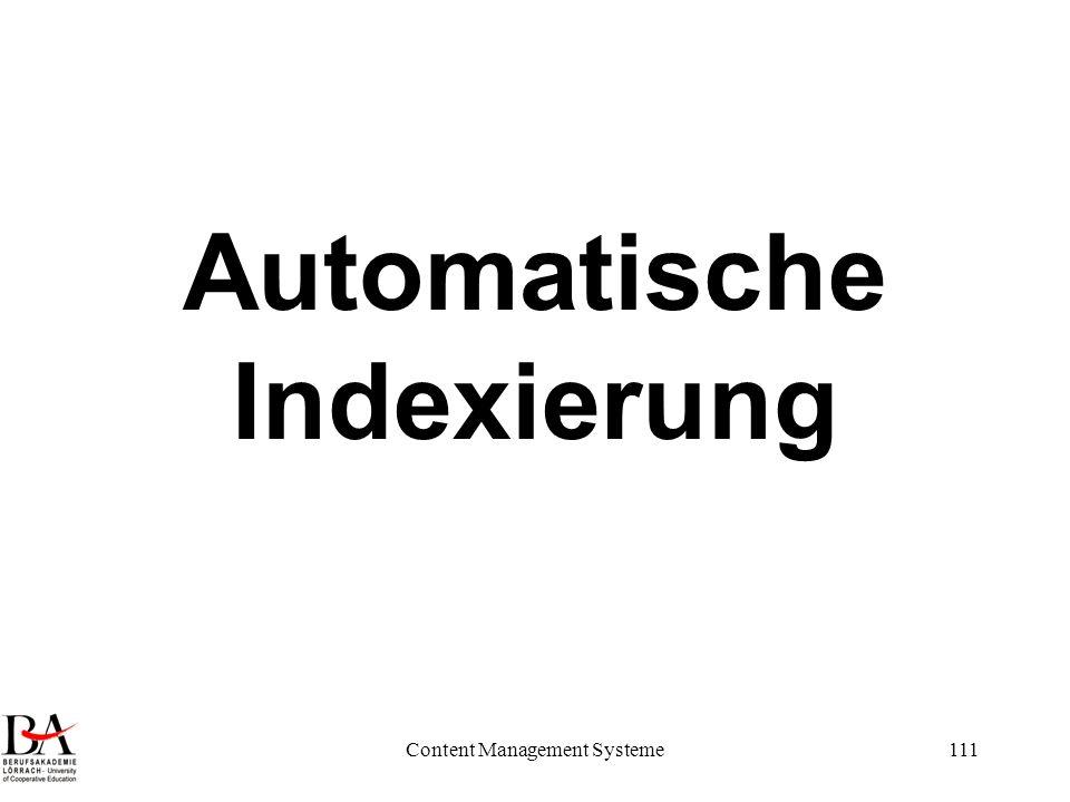 Content Management Systeme111 Automatische Indexierung