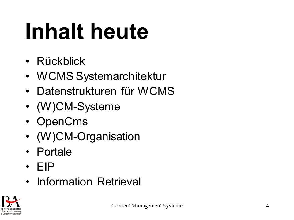 Content Management Systeme4 Inhalt heute Rückblick WCMS Systemarchitektur Datenstrukturen für WCMS (W)CM-Systeme OpenCms (W)CM-Organisation Portale EI