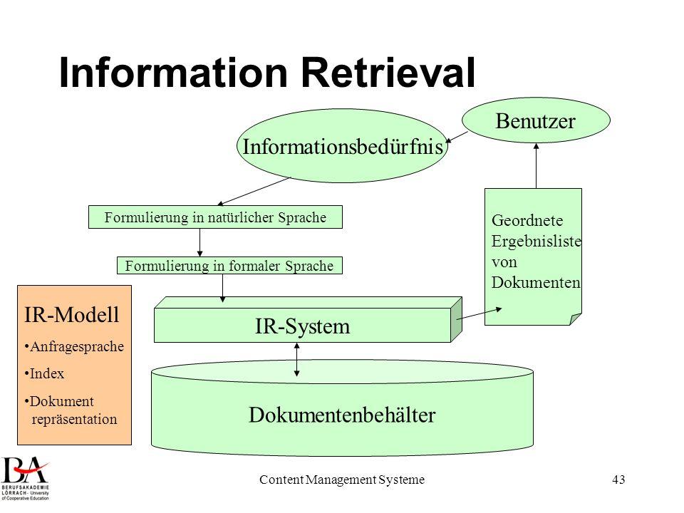 Content Management Systeme43 Information Retrieval Informationsbedürfnis Formulierung in natürlicher Sprache Formulierung in formaler Sprache Dokument